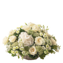 romantic basket of cut flowers