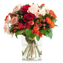 round bouquet of roses in pink, red and orange colours