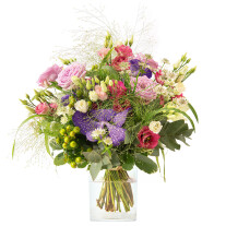 loose-tied bouquet in purple and pink colours