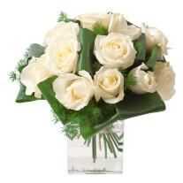 Round funeral bouquet of white roses (without vase)